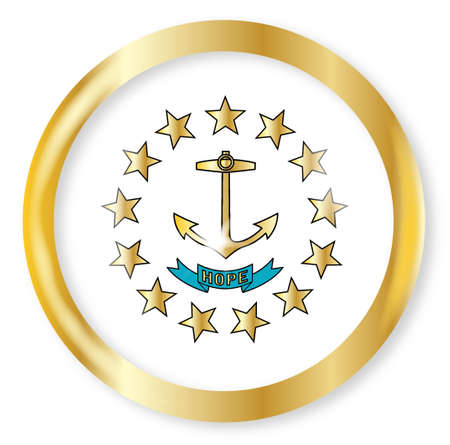 island state: Rhode Island state flag button with a gold metal circular border over a white background
