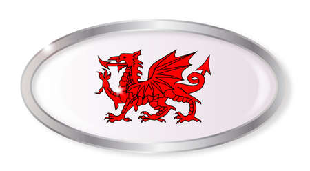 cymru: Oval silver button with the Welsh dragon isolated on a white background