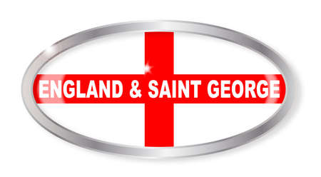 saint george: Oval silver button with the flag of Saint George of England flag isolated on a white background