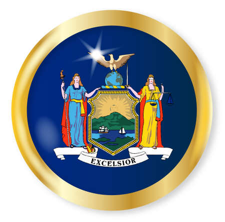 new york state: New York state flag button with a gold metal circular border over a white background