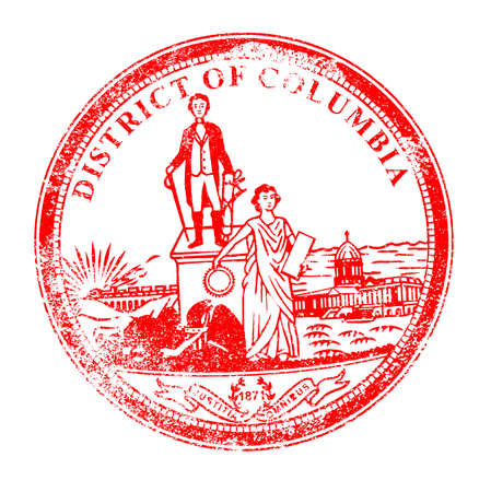 district of columbia: The State Seal of Washingtopn DC rubber stamp on a white background