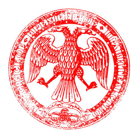 double headed: The seal of the Russian Republic in red as a stampover a white background Illustration