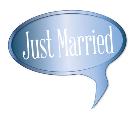 spliced: Just married speech bubble over a white background