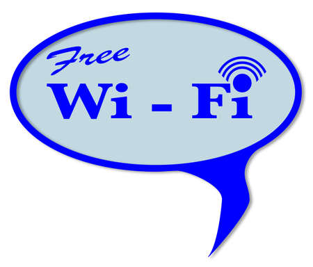 fi: Wi Fi speech button over a white background Illustration