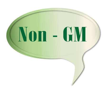 gm: Non GM speech bubble in green over a white background Illustration