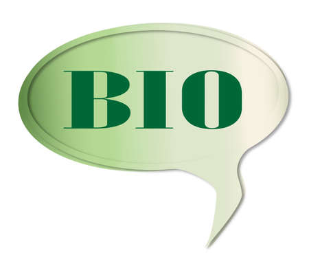 gm: Bio speech bubble in green over a white background