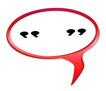 Quotation marks speech bubble in green over a white background Vector