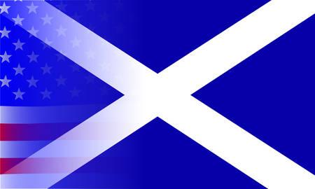 scottish flag: Una bandiera americana, a stelle e strisce, sbiadita su un bandiera scozzese