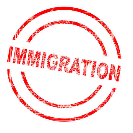 grunged: Immigration red ink grunged rubber stamp on a white background