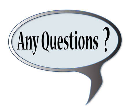any: Any questions speech bubble over a white background