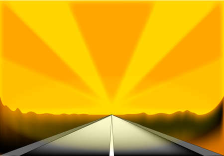 glare: A desert road with the vanishing point of a highway with glare and copy space Illustration