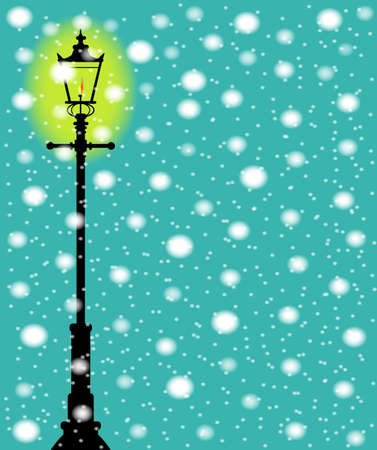 A lit gaslight in a winter downfall of snow