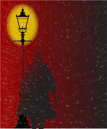 lamplight: Jack the Ripper standing by a gasl light during a storm