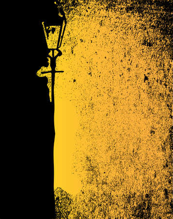dark street: A black and yellow image of a badly lit street with a gas light