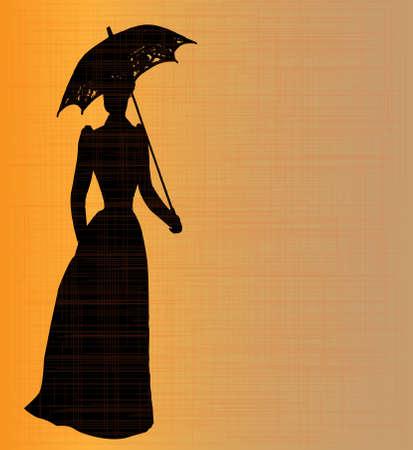 prostitue: Silhouet van een typische dame van het Victoriaanse tijdperk met een grunge achtergrond Stock Illustratie