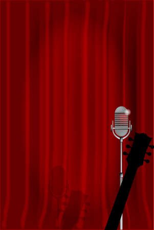 spotlit: A microphone and acoustic guitar ready on stage against a red curtain.