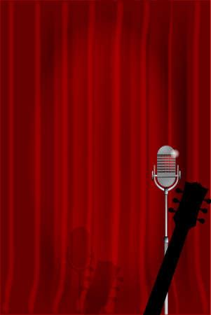 cortinas rojas: Un micrófono y la guitarra acústica en el escenario listo contra un telón rojo.