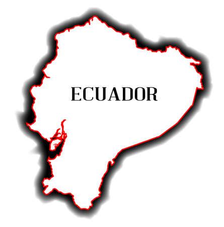 republic of ecuador: Outline blank map of the South American country of Ecuador
