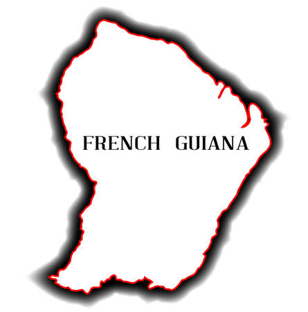 guiana: Outline blank map of the south American country of French Guiana