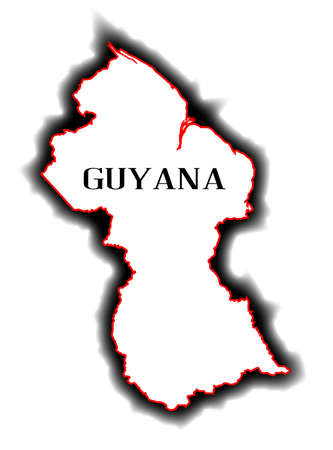 co operative: Outline blank map of the South American country of Guyana