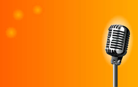 spotlit: A stage microphone set on an orange spotlit background Illustration