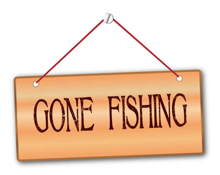 woodgrain: Gone fishing plaque in woodgrain with red string and screw Illustration