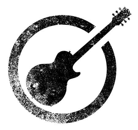 The definitive rock and roll guitar as as rubber ink stamp in black, isolated over a white background. Stok Fotoğraf - 39184063