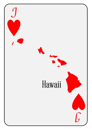 jack of hearts: Outline map of Hawaii and used as the Jack of Hearts motif in a playing card