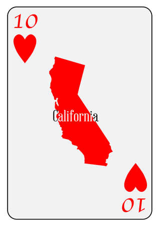 addicted: Outline map of California and used as the Ten of Hearts motif in a playing card
