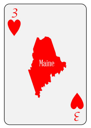 addicted: Outline map of Maine and used as the 3 of Hearts motif in a playing card Illustration