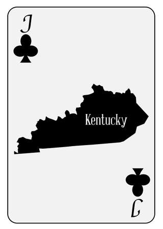 Outline map of Kentucky and used as the Jack of Clubs motif in a playing card Vector