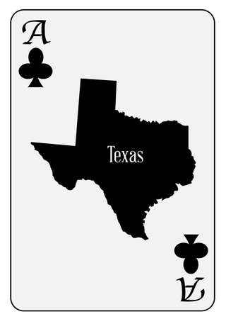 Outline map of Texas and used as the Ace of Clubs motif in a playing card