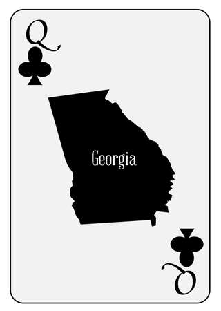 queen of clubs: Outline map of Georgia and used as the Queen of Clubs motif in a playing card Illustration