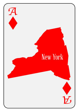 ace of diamonds: Outline map of New York and used as the Ace of Diamonds motif in a playing card Illustration