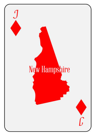 jack of diamonds: Outline map of New Hampshire  and used as the Jack of Diamonds motif in a playing card Illustration