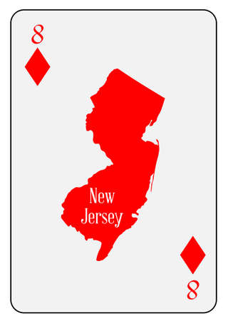 Outline map of New Jersey  and used as the 8 of Diamonds motif in a playing card