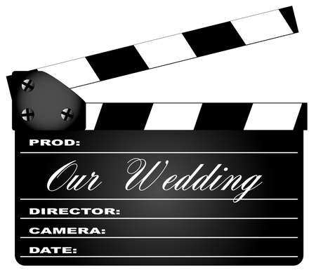 home video camera: A typical movie clapperboard with the legend Our Wedding isolated on white.