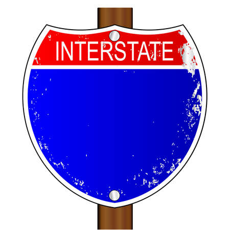 traffic pole: A blank interstate sign over a white background