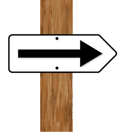 traffic pole: A white and black traffic arrow fixed to a wooden pole over a white background Illustration