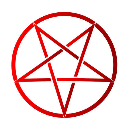 pentagram: The five pointed pentagram over a white background
