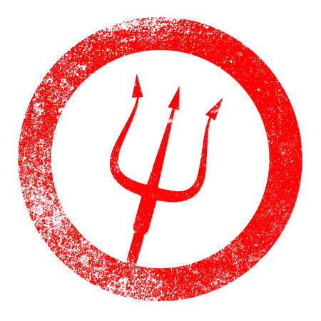 lucifer: A rubber red ink stamp of the devils pitchfork over a white background