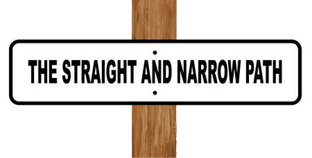 straight path: A black and white sign the straight and narrow path fixed to a wooden pole over a white background Illustration