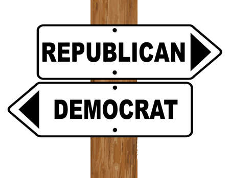 fixed: A white and black democrat and republical signs fixed to a wooden pole over a white background