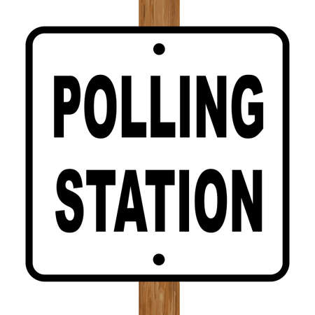 polling booth: A polling station sign over a white background