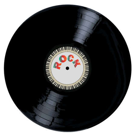 A typical LP vinyl record with the legend ROCK and a circle of piano keys all over a white background.