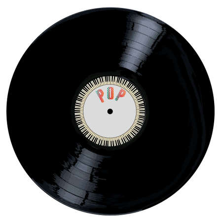 grooves: A typical LP vinyl record with the legend POP and a circle of piano keys all over a white background. Illustration