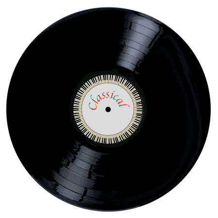 grooves: A typical LP vinyl record with the legend CLASSICAL and a circle of piano keys all over a white background.