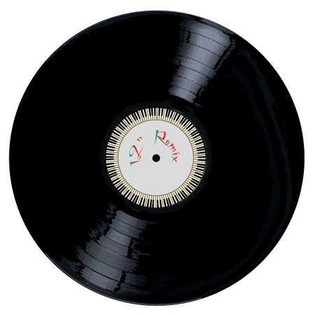 remix: A typical LP vinyl record with the legend 12 inch REMIX and a circle of piano keys all over a white background.