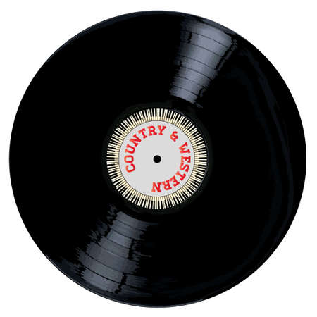 lp: A typical LP vinyl record with the legend Country and Western and a circle of piano keys all over a white background. Illustration