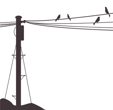 A few birds sitting on a telegraph wire Vector